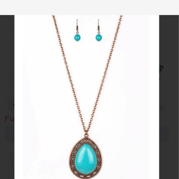 Turquoise stone copper frame necklace w/earrings